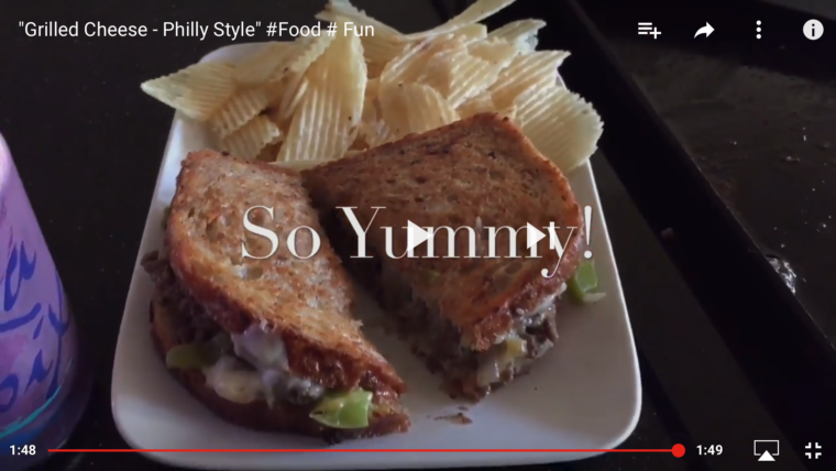 Video screenshot of grilled cheese sandwich Philly style